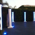 Patio columns with uplighting; color was much more defined as the evening grew darker