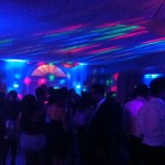 Uplighting, dance lighting, fog effect and an energetic crowd changes the feel of the room