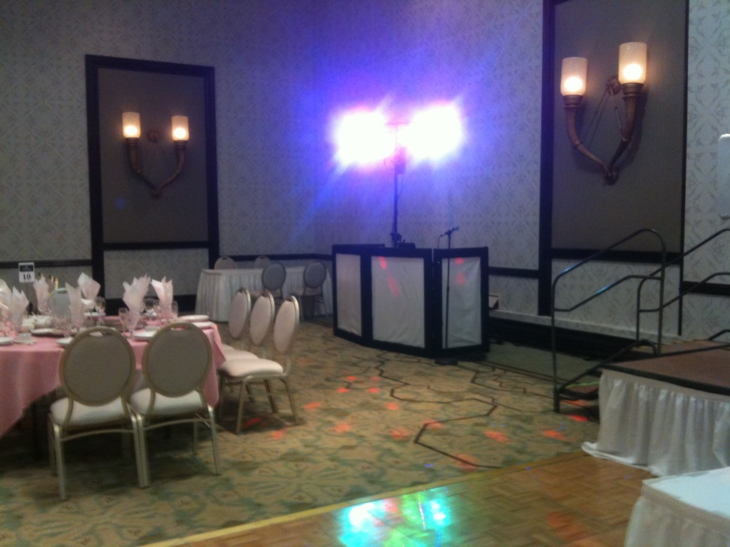 DJ booth with dance lights