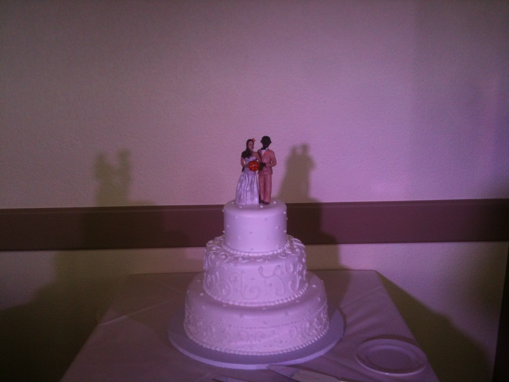 Cake with highlighting (actual lighting was a cool-white, but color was distorted by camera)